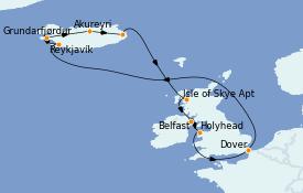 Itinéraire de la croisière Îles Britanniques 13 jours à bord du Carnival Pride