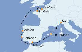 Itinéraire de la croisière Méditerranée 13 jours à bord du Le Bellot