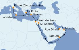 Itinéraire de la croisière Transatlantiques et Grands Voyages 2021 18 jours à bord du MSC Virtuosa
