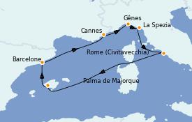 Itinéraire de la croisière Méditerranée 8 jours à bord du MSC Meraviglia
