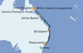 Itinéraire de la croisière Australie 2021 13 jours à bord du Celebrity Eclipse