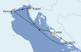 Itinéraire de la croisière Grèce & Adriatique 5 jours à bord du MSC Lirica