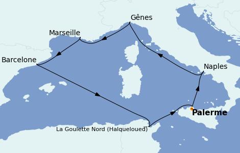 Itinéraire de la croisière Méditerranée 7 jours à bord du MSC Opera