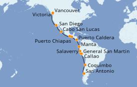 Itinéraire de la croisière Riviera Mexicaine 24 jours à bord du ms Westerdam