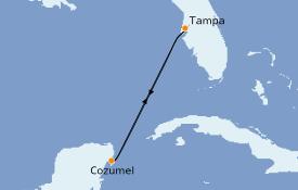Itinéraire de la croisière Caraïbes de l'Ouest 5 jours à bord du Carnival Paradise