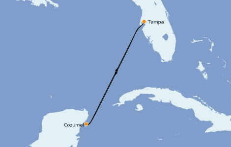 Itinéraire de la croisière Caraïbes de l'Ouest 4 jours à bord du Carnival Paradise