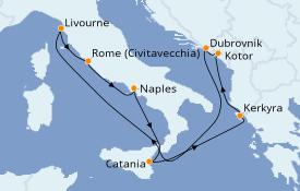 Itinéraire de la croisière Méditerranée 10 jours à bord du Carnival Legend