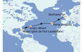Itinéraire de la croisière Transatlantiques et Grands Voyages 2021 12 jours à bord du Celebrity Silhouette