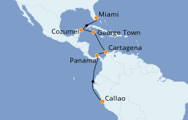 Itinéraire de la croisière Caraïbes de l'Ouest 14 jours à bord du Azamara Pursuit