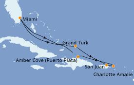 Itinéraire de la croisière Caraïbes de l'Est 8 jours à bord du Carnival Sunrise