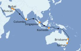 Itinéraire de la croisière Tour du Monde 2020 23 jours à bord du Sea Princess