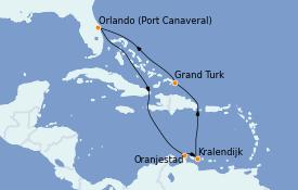 Itinéraire de la croisière Caraïbes de l'Est 9 jours à bord du Carnival Mardi Gras