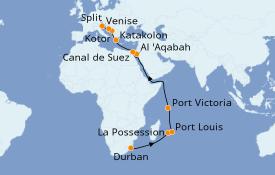 Itinéraire de la croisière Transatlantiques et Grands Voyages 2020 26 jours à bord du MSC Orchestra