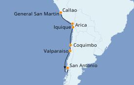Itinéraire de la croisière Amérique du Sud 11 jours à bord du Azamara Quest