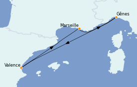 Itinéraire de la croisière Méditerranée 5 jours à bord du MSC Seaside