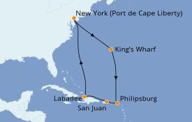 Itinéraire de la croisière Caraïbes de l'Est 10 jours à bord du Adventure of the Seas