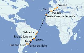 Itinéraire de la croisière Transatlantiques et Grands Voyages 2022 24 jours à bord du Costa Favolosa