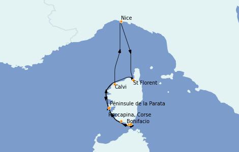 Itinéraire de la croisière Méditerranée 7 jours à bord du Le Bougainville