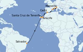 Itinerario de crucero Trasatlántico y Grande Viaje 2022 16 días a bordo del Costa Smeralda