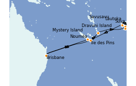 Itinéraire de la croisière Australie 2022 15 jours à bord du Coral Princess