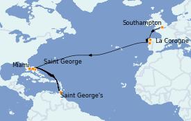 Itinéraire de la croisière Bahamas 16 jours à bord du MS Sirena