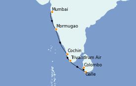 Itinéraire de la croisière Inde 10 jours à bord du Le Bellot