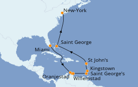 Itinéraire de la croisière Caraïbes de l'Est 16 jours à bord du Seven Seas Navigator