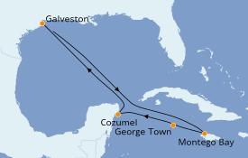 Itinéraire de la croisière Caraïbes de l'Ouest 8 jours à bord du Carnival Breeze