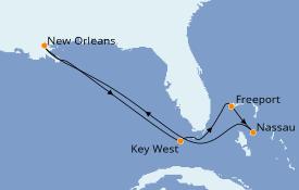 Itinéraire de la croisière Bahamas 8 jours à bord du Carnival Glory