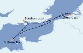 Itinéraire de la croisière Îles Britanniques 5 jours à bord du Crown Princess