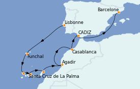 Itinéraire de la croisière Îles Canaries 11 jours à bord du MS Sirena