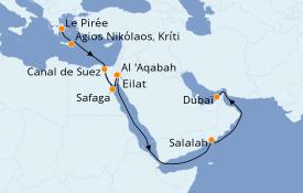 Itinéraire de la croisière Mer Rouge 17 jours à bord du Azamara Journey