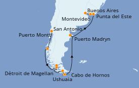 Itinéraire de la croisière Amérique du Sud 15 jours à bord du Celebrity Silhouette