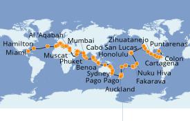 Itinéraire de la croisière Tour du Monde 2020 132 jours à bord du Seven Seas Mariner