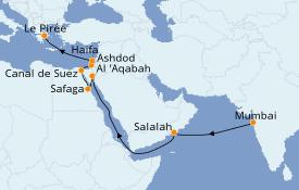 Itinéraire de la croisière Mer Rouge 18 jours à bord du Silver Whisper