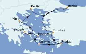 Itinéraire de la croisière Grèce & Adriatique 11 jours à bord du Nautica