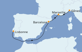 Itinéraire de la croisière Méditerranée 5 jours à bord du MSC Virtuosa