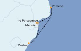 Itinéraire de la croisière Afrique 7 jours à bord du MSC Musica