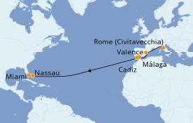 Itinéraire de la croisière Transatlantiques et Grands Voyages 2020 15 jours à bord du Explorer of the Seas
