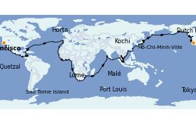 Itinéraire de la croisière Tour du Monde 2022 121 jours à bord du Seven Seas Mariner