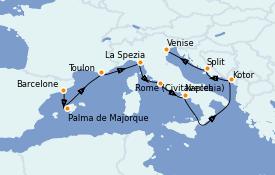 Itinéraire de la croisière Méditerranée 10 jours à bord du Celebrity Constellation