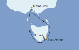 Itinéraire de la croisière Australie 2021 6 jours à bord du Sapphire Princess