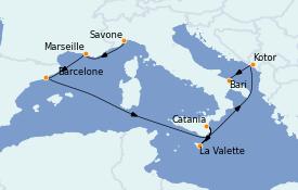 Itinéraire de la croisière Méditerranée 9 jours à bord du Costa Magica