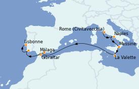 Itinerario de crucero Mediterráneo 10 días a bordo del Carnival Pride