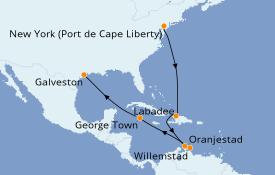 Itinéraire de la croisière Caraïbes de l'Est 12 jours à bord du Adventure of the Seas