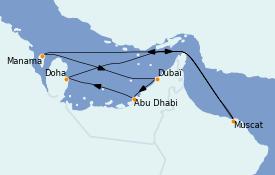 Itinéraire de la croisière Dubaï - Emirats 12 jours à bord du Costa Firenze
