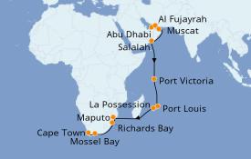 Itinéraire de la croisière Dubaï - Emirats 23 jours à bord du Seven Seas Voyager