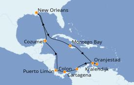 Itinéraire de la croisière Caraïbes de l'Ouest 15 jours à bord du Carnival Glory