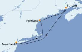 Itinéraire de la croisière Canada 6 jours à bord du Norwegian Breakaway