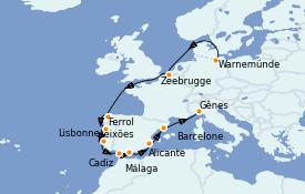 Itinéraire de la croisière Méditerranée 12 jours à bord du MSC Musica